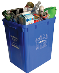 recyclable materials in blue recycling box