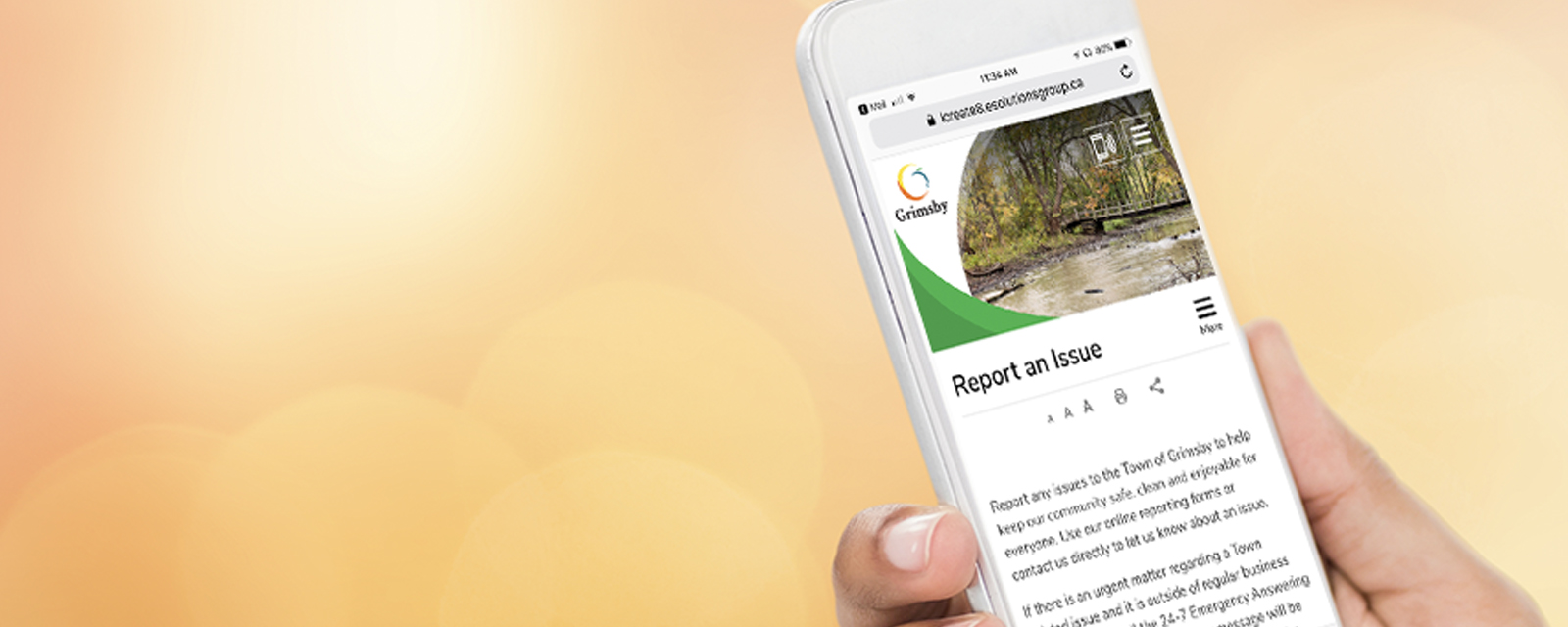 report an issue site on a cell phone