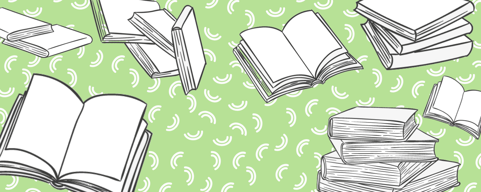 drawn books on a green background
