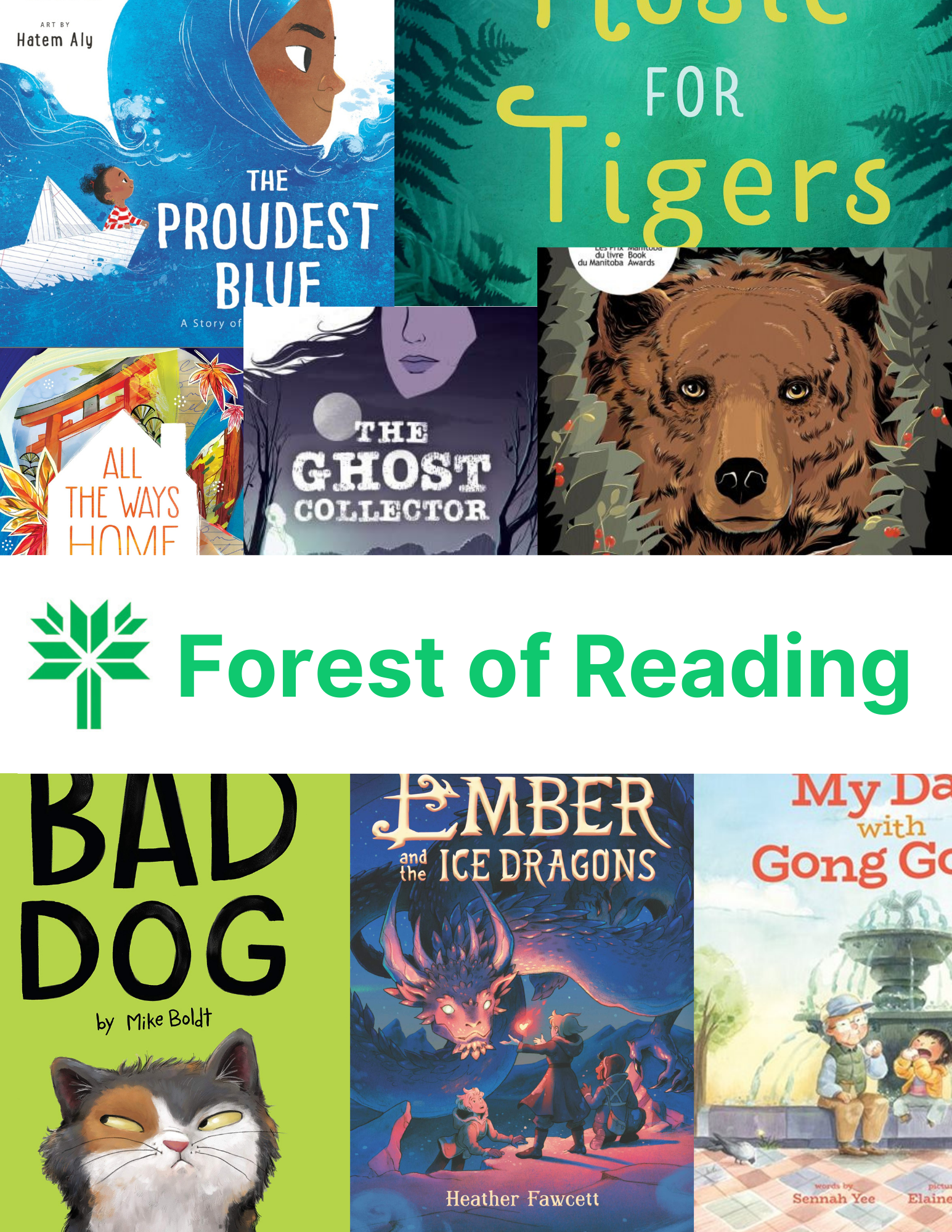 composite image of Forest of Reading book covers