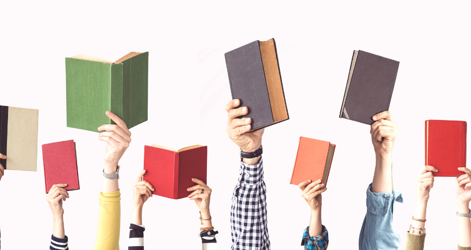 People's arms sticking up from the bottom of images, all holding a different book