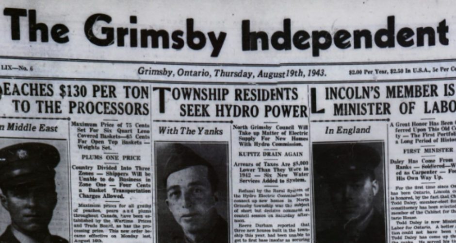 Front page of a 1943 issue of the Grimsby Independent