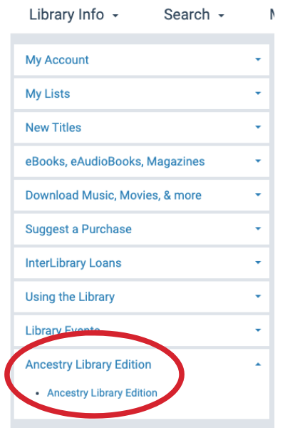 left hand menu of your library account