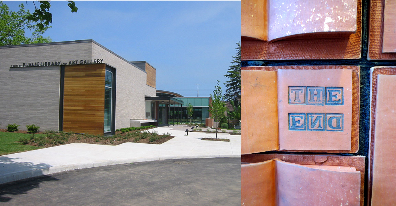 Composite image - New library building and clay book display