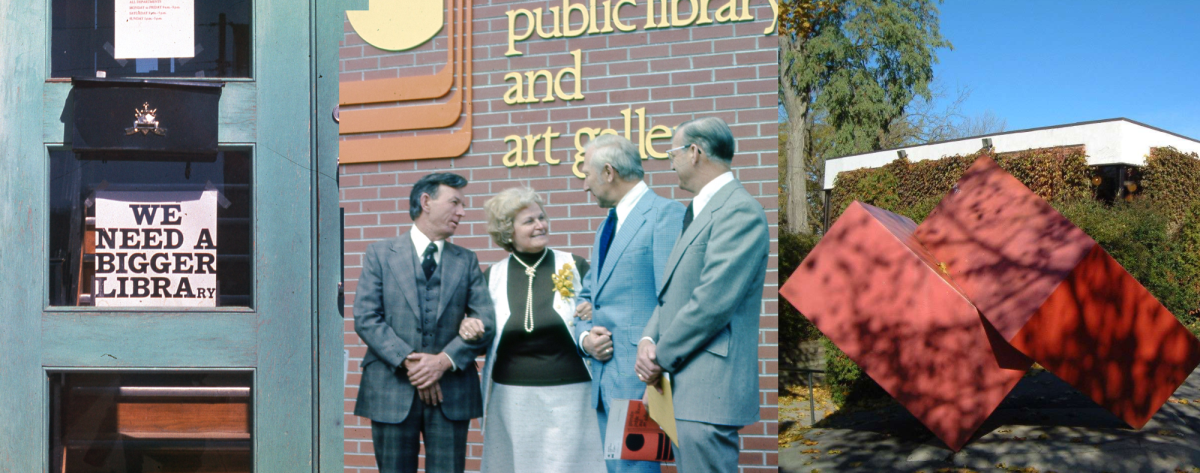 Composite image - library doors, opening ceremony with Chief Librarian Gladys Western (2nd from left), cube sculpture