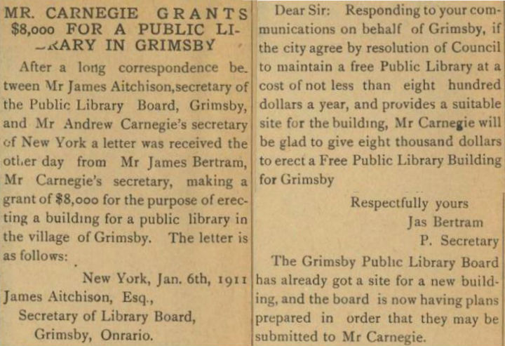 March 15, 1911 Newspaper clipping regarding $8000 grant for new library building