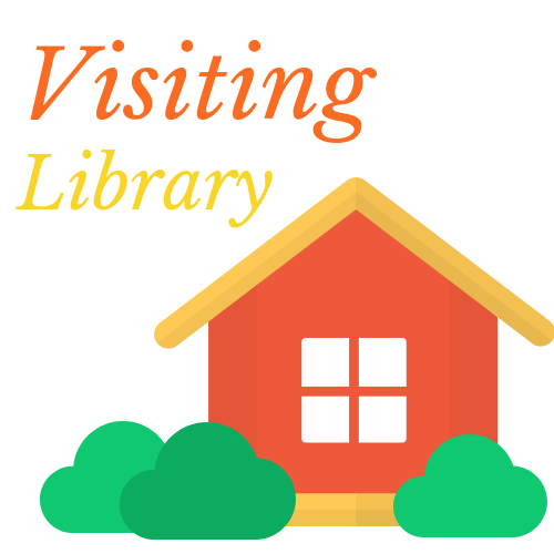 Orange and yellow house visiting library graphic
