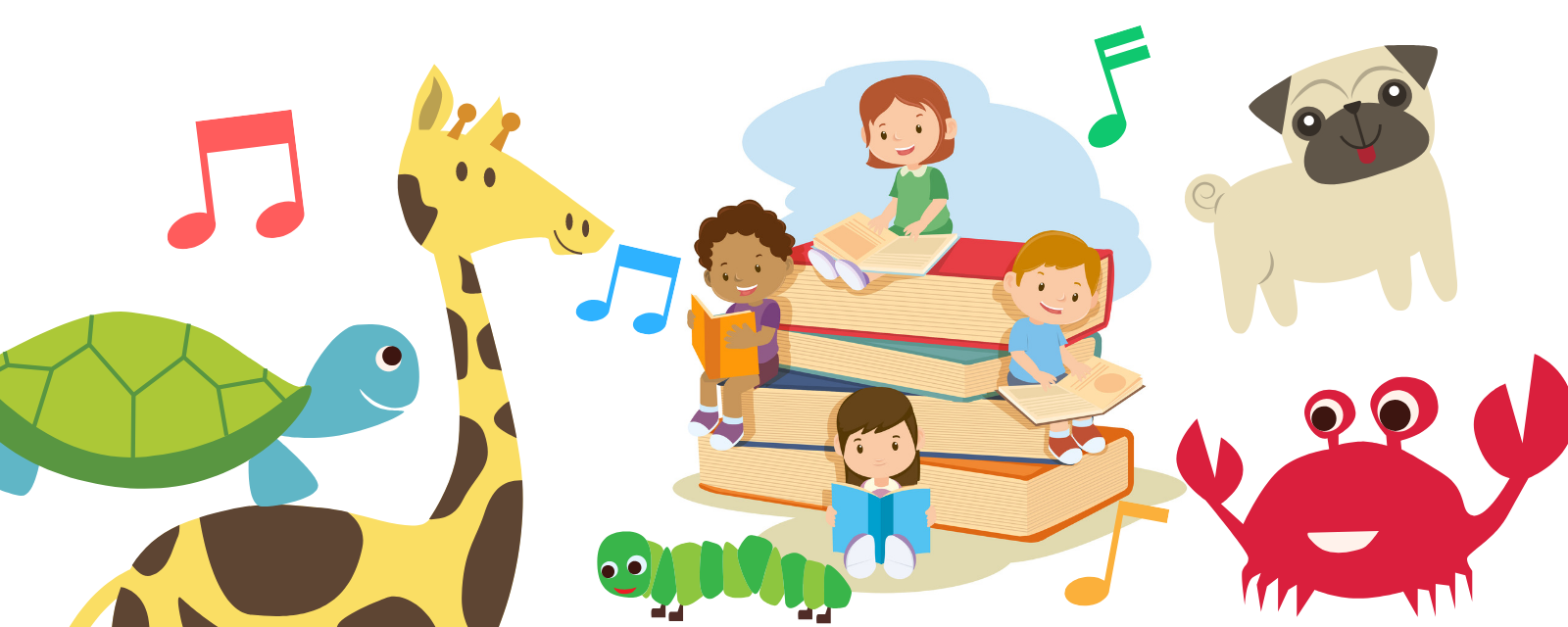 Fun image of animals and kids reading books