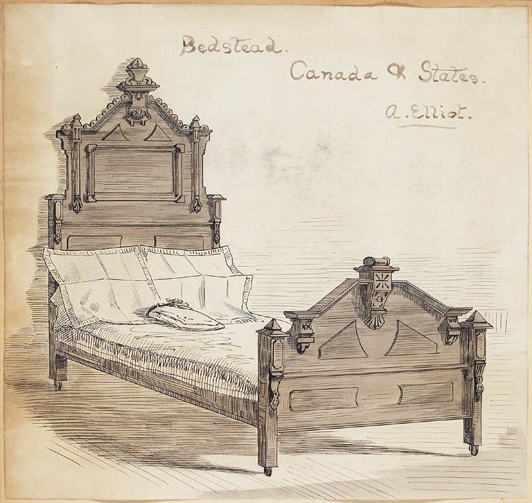 sketch of old bed